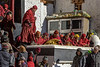 Monks in red robes at the Gustor festival, Spituk Gompa, Leh, Ladakh