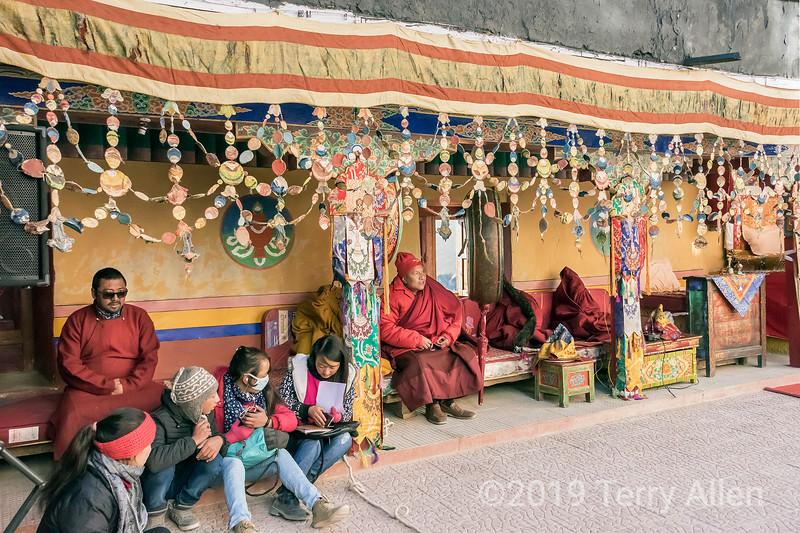 Spituk Gompa abbott presiding over the Spituk Gustor festival, Leh District, Ladakh