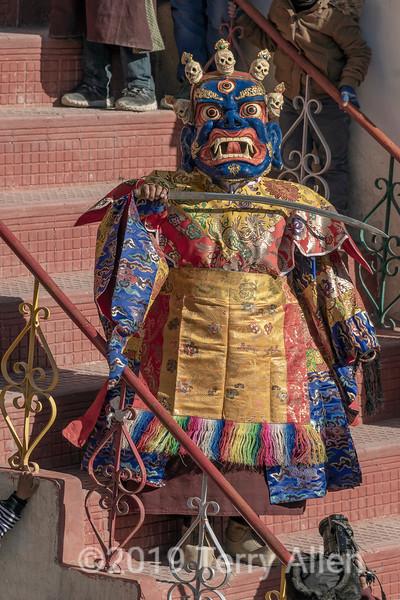 Cham dance evil character, Gustor festival, Spituk Gompa, Leh, Ladakh