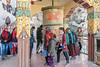 Spituk Gustor festival goes spinning a large prayer wheel, Spituk Gompa, Leh district, Ladakh
