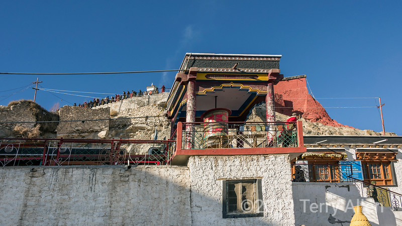 Spituk Gompa on festival day with large prayer wheel, Leh district, Ladakh