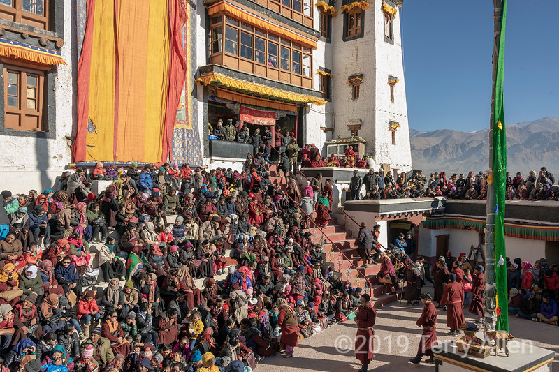 Crowds in the courtyard during the Gustor festival, Spituk Gompa, Leh, Ladakh