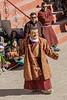 Masked Cham dancer in the courtyard, Gustor festival, Spituk Gompa, Leh, Ladakh