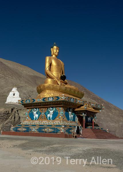 Gautama Buddha in lotus position, 22 m high, built 2012-2015, conscrated by 14th Dalai Lama, Stok, Ladakh