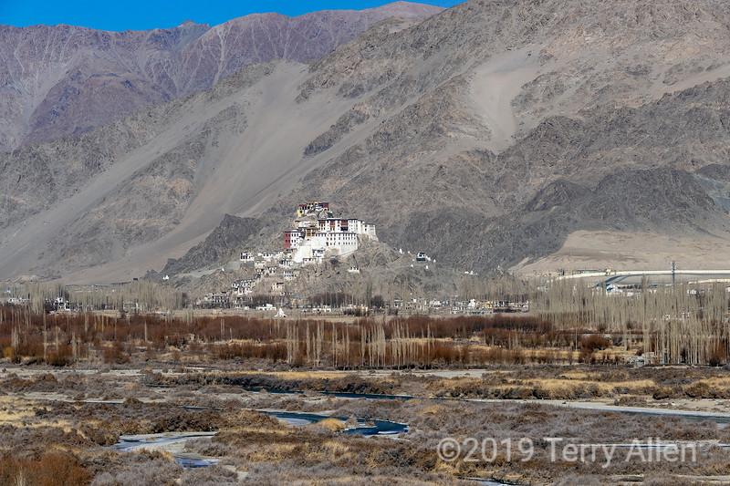 Indus River valley looking towards Spituk Gompa, Leh, Ladakh