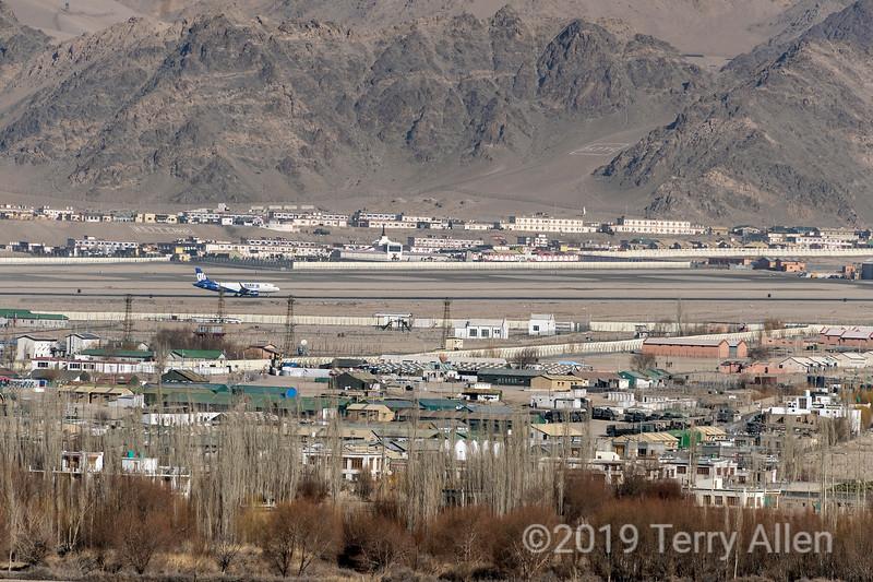 Go air flight landing at Leh airport, Ladakh