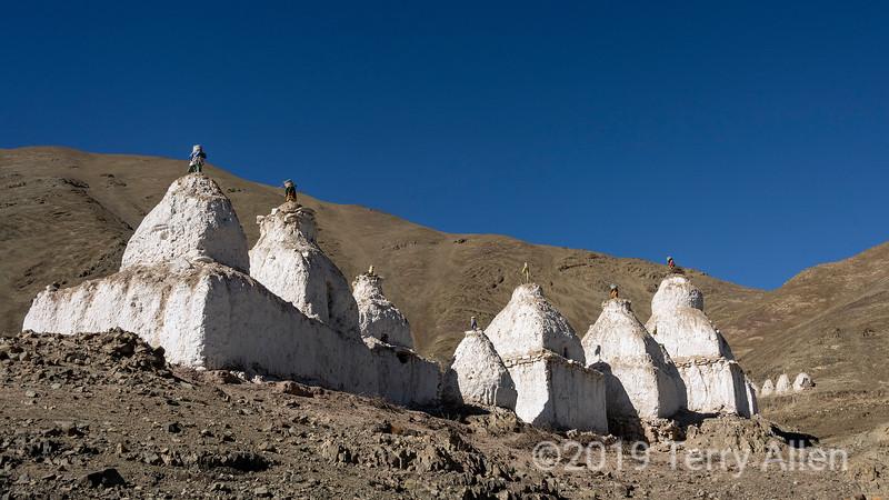 Line of stupas above the Stok valley, Stok, Ladakh