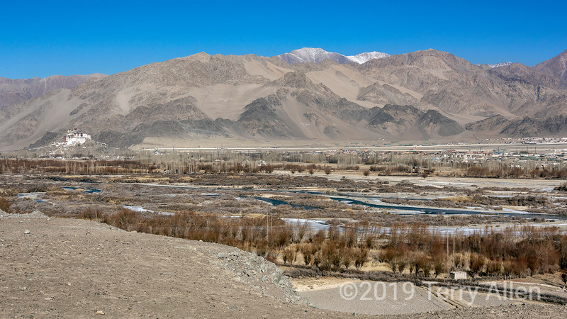 Indus River valley with Spituk Gompa and Leh, Ladakh