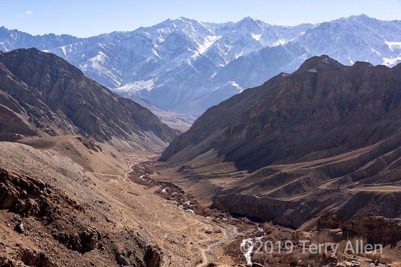 Ulley road, small stream and Ladakh Range, Ladakh, Jammu and Kashmir
