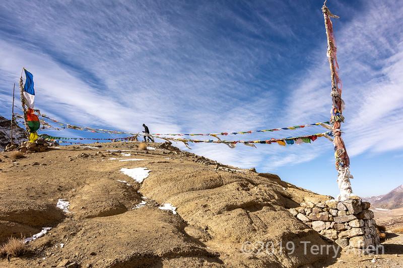 High pass with prayer flags, near Hemis Shukpachan, Ladakh
