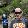 Jochen, Pepsi poster boy, on the road from Keylong to Darcha