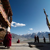 Monks assembling in the courtyard of Karsha Gompa before afternoon prayers