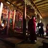 Inside the main prayer hall of Karsha Gompa