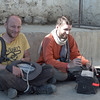 Jochen and Yann waiting for prayer time in the Karsha Gompa main courtyard
