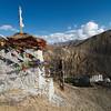 Prayer flags high above Lamaruyu Monastery