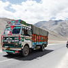 Racing trucks along the NH1 on our way to Leh