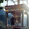Spinning the prayer wheel - dusk in Mulbek