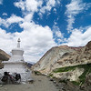 Our bicycles leaning on a chorten