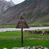 Sign marking the kilometres travelled from Padum and the number left to Kargil