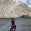 Yann riding to the town of Rangdum, a few kilometres away from the Monastery