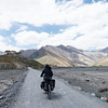 Emilie riding towards Rangdum Monastery