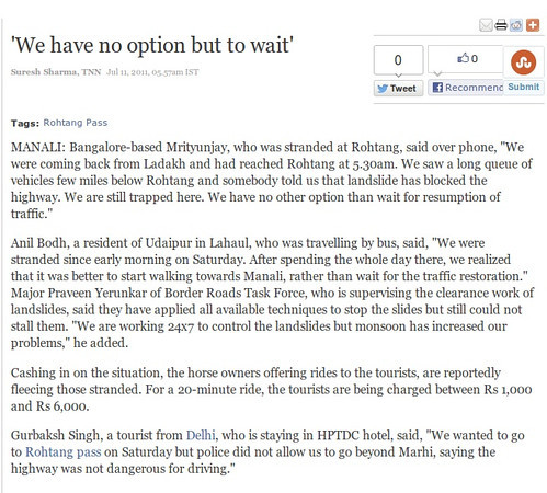 Article appearing in the Times of India