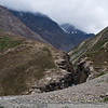 View of the trail leading to Shingo La Pass, across the river from Zanskar Sumdo