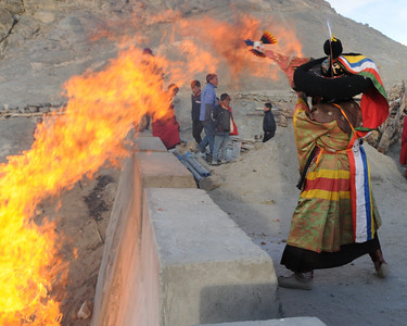 The flame seemed to leap up to grab the ceremonial statue after the festivities were over