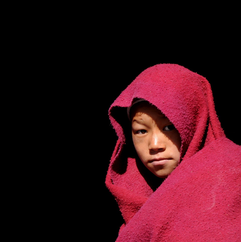 Young monk at Thiksey Monastery in Ladakh, India.  The shadowed background wasn't photoshopped.