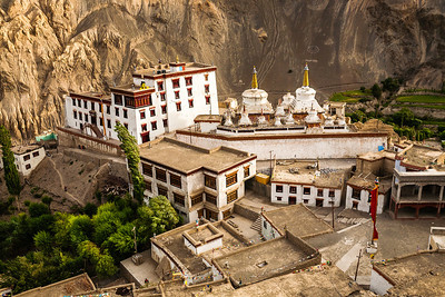 View of the monastery at Lamayuru from the Lamayuru meditation hill. Lamayuru is a small village 100 km before Leh on the Srinagar-Leh highway. It's claim to fame is the moonlike landscape surrounding Lamayuru.