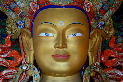 Close up of Maitreya Buddha statue at Thiksey Monastery in Ladakh, India.