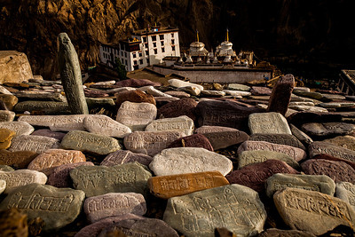 These stones are an important part of the Buddhist culture, some of them being centuries old. Carved meticulously with the beautiful Tibetan script, these stones are a piece of art. These were strewn on the way to the meditation hill in Lamayuru in the Ladakh region. Their colours represent the colours one sees in the mountains of Ladakh.