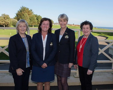Bernie Nelson (Lady President), Grace Delahunt ( Outgoing Lady Captain), Tina Meehan ( Incoming Lady Captain) and Miriam McGrath (Incoming Vice-Captain)