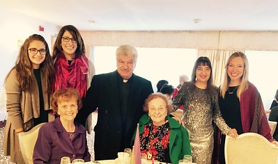 From left, Demetra and Voula Danas of Andover, Father Leonard Faris of St. George Antiochian Orthodox Church in Lowell, Karen Mitropoulis, Amy Spera, both of Chelmsford, seated Alice Danas of Lowell, Dyanne Mitropoulis of Chelmsford