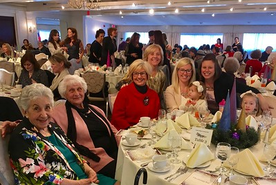 From left, Mary Koutsis of Lynn, Tina Dzedulonis, Mary Lane, Elizabeth Mancini, Quinn and Alexis O'Brien, all of Chelmsford, Sue Dzedulonis Wiseman of North Andover