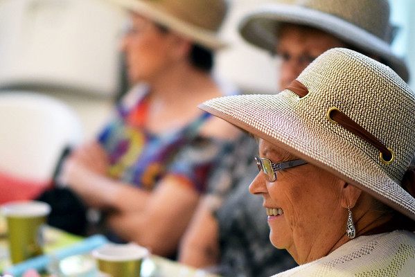 Marlene Walker of Effingham enjoys the Ladies' Tea Party at the Effingham County Museum Saturday.<br /> Cathy Griffith photo