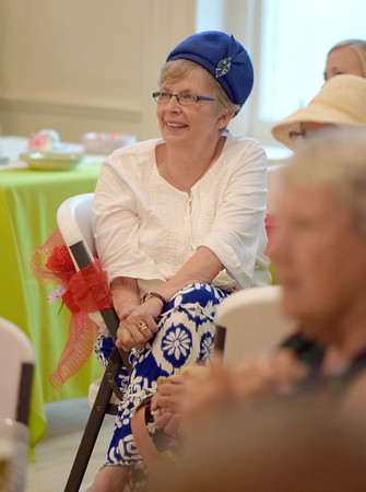 Marilyn Burrow is wearing a hat her mother wore in the 1960s at the Ladies' Tea Party Saturday at the Effingham County Museum. Cathy Griffith photo