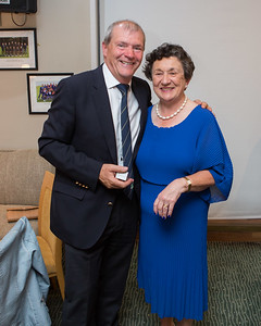 DJ Kenna (Men's Vice-Captain) receiving the Winner's Prize (Men's 9-Hole) on behalf of Michael Morgan in the Lady Captain's Prize from Lady Captain Miriam