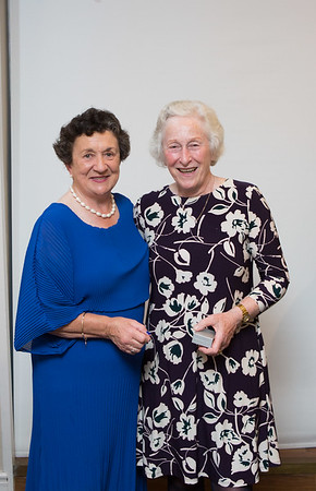 Ann O'Riordan, Winner (Ladies 9-Hole)  in the Lady Captain's Prize receives her prize from Lady Captain Miriam