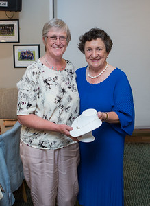 Mary Crowe 3rd Place prize winner in the Lady Captain's Prize receives her prize from Lady Captain Miriam