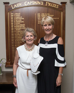 Noeline Meehan winner of  the Lady Captain's  Prize being congratulated by Lady CaptainTina