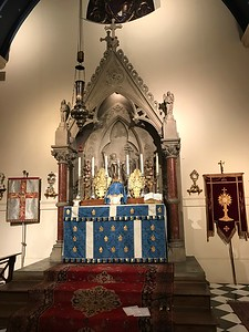 High Altar ready for Lady Day High Mass, 25 March 2017