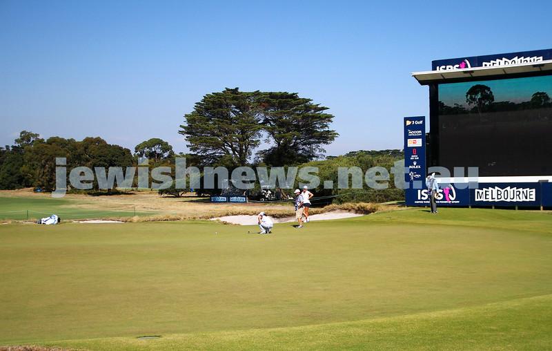 19-2-15. LPGA Handa Australian Women's Golf Open, Royal Melbourne Golf Club. Round 1. The 18th green. Laetitia Beck. Photo: Peter Haskin