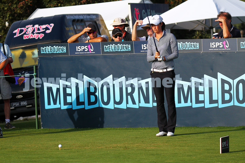 20-2-15. LPGA Handa Australian Women's Golf Open, Royal Melbourne Golf Club. Round 2. Tee shot at the 1st. Laetitia Beck. Photo: Peter Haskin