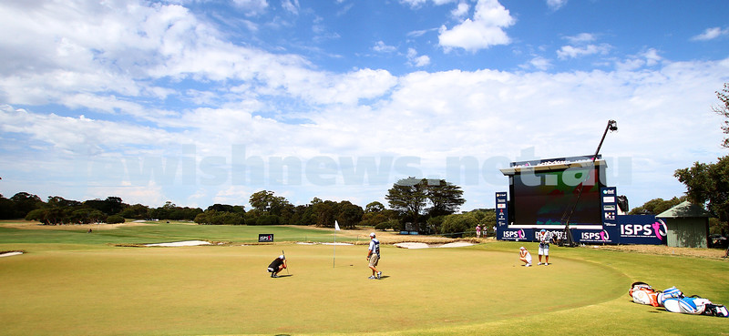 22-2-15. LPGA Handa Australian Women's Golf Open, Royal Melbourne Golf Club. Round 4. Laetitia Beck. Lining up for a putt on the 18th. Photo: Peter Haskin