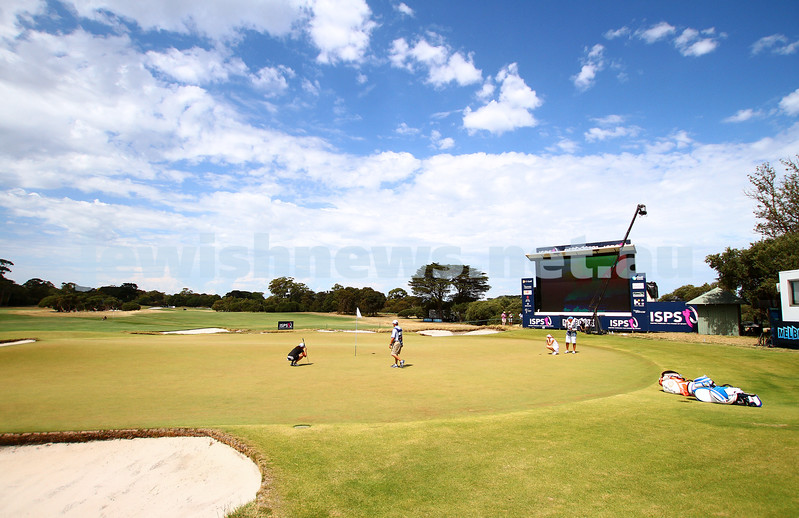 22-2-15. LPGA Handa Australian Women's Golf Open, Royal Melbourne Golf Club. Round 4. Laetitia Beck. Lining up for a putt on the 18th. Photo: Peter Haskin