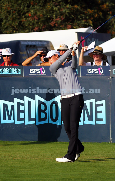 20-2-15. LPGA Handa Australian Women's Golf Open, Royal Melbourne Golf Club. Round 2. Tee shot at the 1st. Laetitia Beck. Photo: Peter Haskin