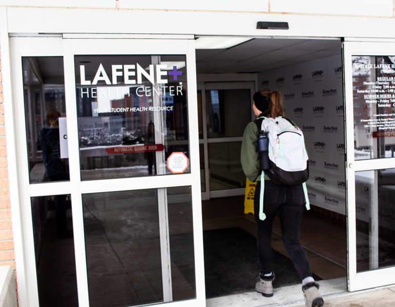 A student walks into Lafene Health Center seeking assistance to combat a cold. (Katelin Woods | Collegian Media Group)