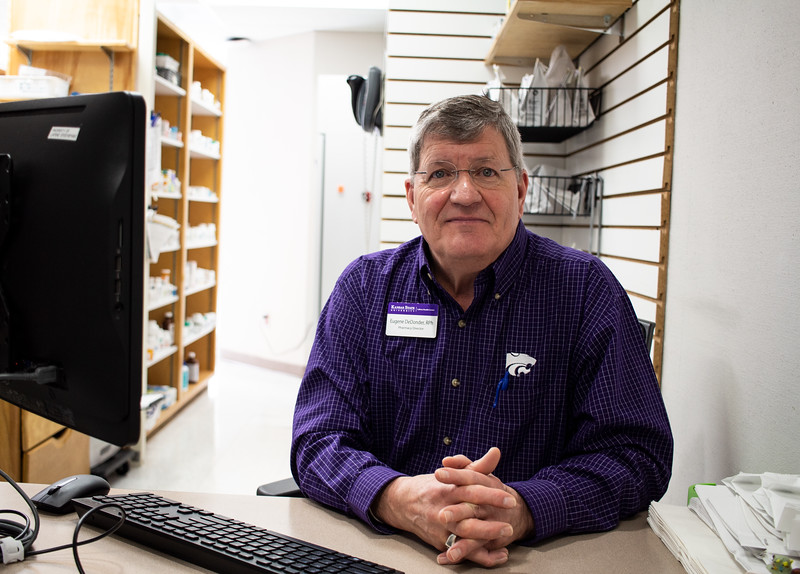 Eugene DeDonder, Director of Pharmacy at Lafene Health Center, manages the pharmaceutical aspect of Lafene. Within a month, they will be moving their services to another side of the building and offering a drive thru window for filling prescriptions. (Katelin Woods | Collegian Media Group)