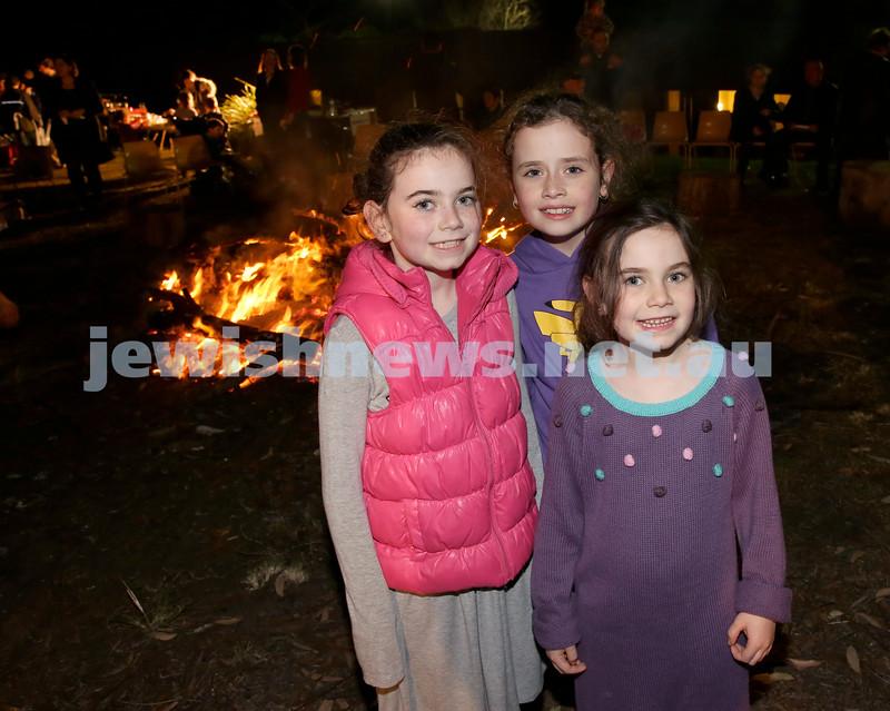 Lag B'Omer at North Shore Chabad. Dina Lowinger, Liorah Kessel, Tova Lowinger. Pic Noel Kessel.